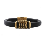 Men's Brass Energy Brown Leather Bracelet