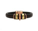 Men's Brass/Copper Jupiter Black Leather Bracelet