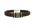 Men's Silver Renegade Brown Leather Bracelet