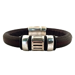 Men's Silver Blaze Brown Leather Bracelet