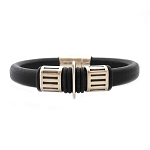 Men's Silver Gear Black Leather Bracelet