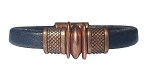 Women's Copper Trac Black Leather Bracelet