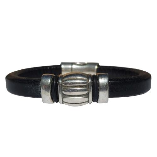 Women's Silver Wine Barrel Leather Bracelet