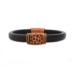 Men's Copper Leopard Brown Leather Bracelet