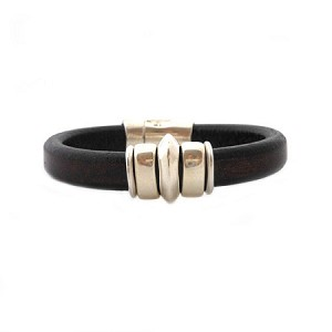 Women's Silver Saturn Brown Leather Bracelet