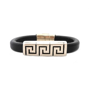 Men's Silver Greek Key Brown Leather Bracelet