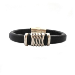 Men's Silver Energy Brown Leather Bracelet