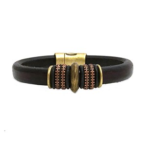 Women's Brass Mars Brown Leather Bracelet