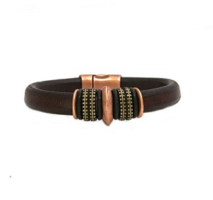 Men's Copper Mars Black Leather Bracelet