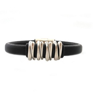 Men's Silver Space Black Leather Bracelet   (COPY)