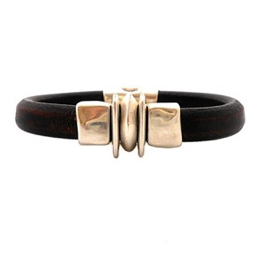Women's Silver Balance Black Leather Bracelet