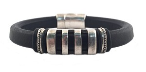 Men's Silver Parallel Brown Leather Bracelet