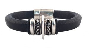 Women's Silver Io Black Leather Bracelet