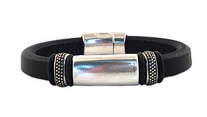 Women's Silver Titan Black Leather Bracelet