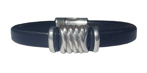 Women's Silver Energy Black Leather Bracelet