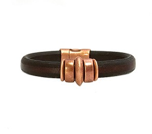 Women's Copper Saturn Brown Leather Bracelet
