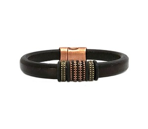Men's Copper Renegade Brown Leather Bracelet