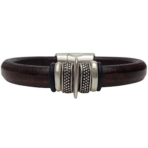 Men's Silver Io Leather Bracelet