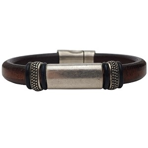 Women's Silver Titan Leather Bracelet