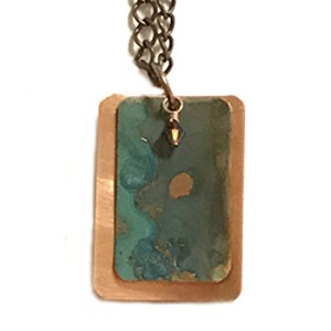 Tiffany Green Copper Necklace, Rectangle