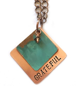 Tiffany Green Stamped Copper Necklace, Square