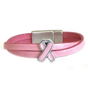 Pink Ribbon Leather Bracelet T