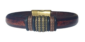 Men's Brass Renegade Leather Bracelet