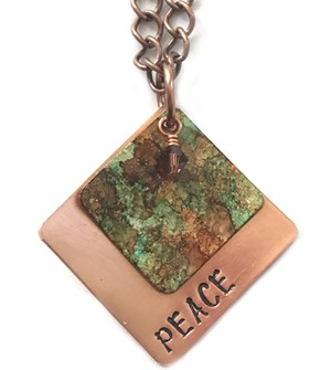 Vintage Stamped Copper Necklace, Square