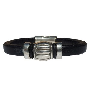 Men's Silver Wine Barrel Leather Bracelet